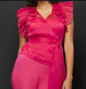 New York & Company Pink Ruffled Wrap Blouse
